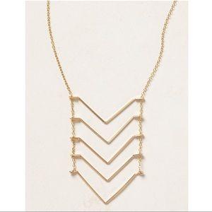 Anthropologie 24k Gold Chevron Ladder Necklace